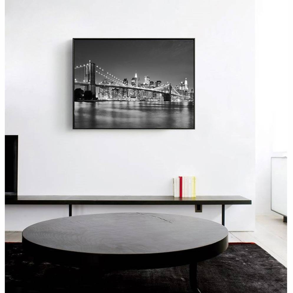 Modern New York City Brooklyn Bridge Black & White Pictures Canvas With Newest Black And White New York Canvas Wall Art (View 18 of 20)