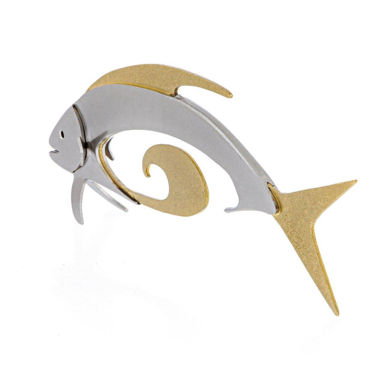 Modern Stainless Steel & Bronze Metal Fish Sea Animal Sculpture For 2018 Stainless Steel Fish Wall Art (View 11 of 17)