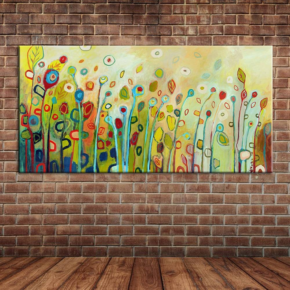 Modern Wall Art Landscape Spring Scenery Wild Flowers Oil Painting Pertaining To Most Up To Date Fabric Canvas Wall Art (View 14 of 20)