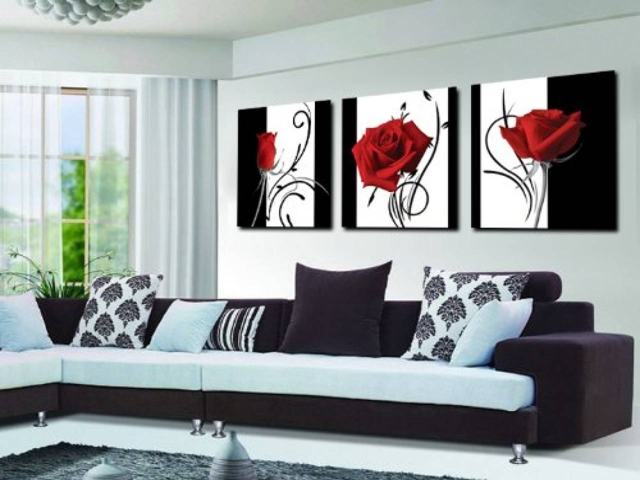 The best black and white wall art with red for Modern black and white wall art