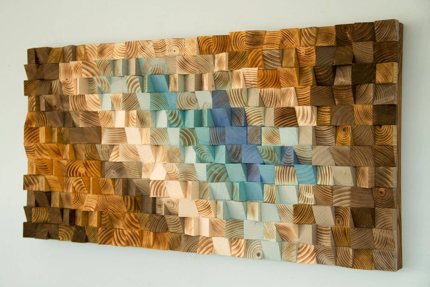 Modern Wood Wall Art, Wood Mosaic, Geometric Art, Wood Decor Throughout Current Wall Art On Wood (View 20 of 20)