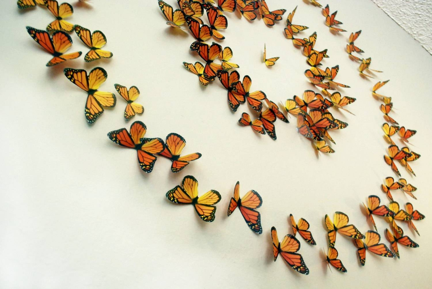 Monarch Butterflies 3D Wall Art Set Of 100 Throughout Most Current 3D Wall Art Etsy (View 14 of 20)