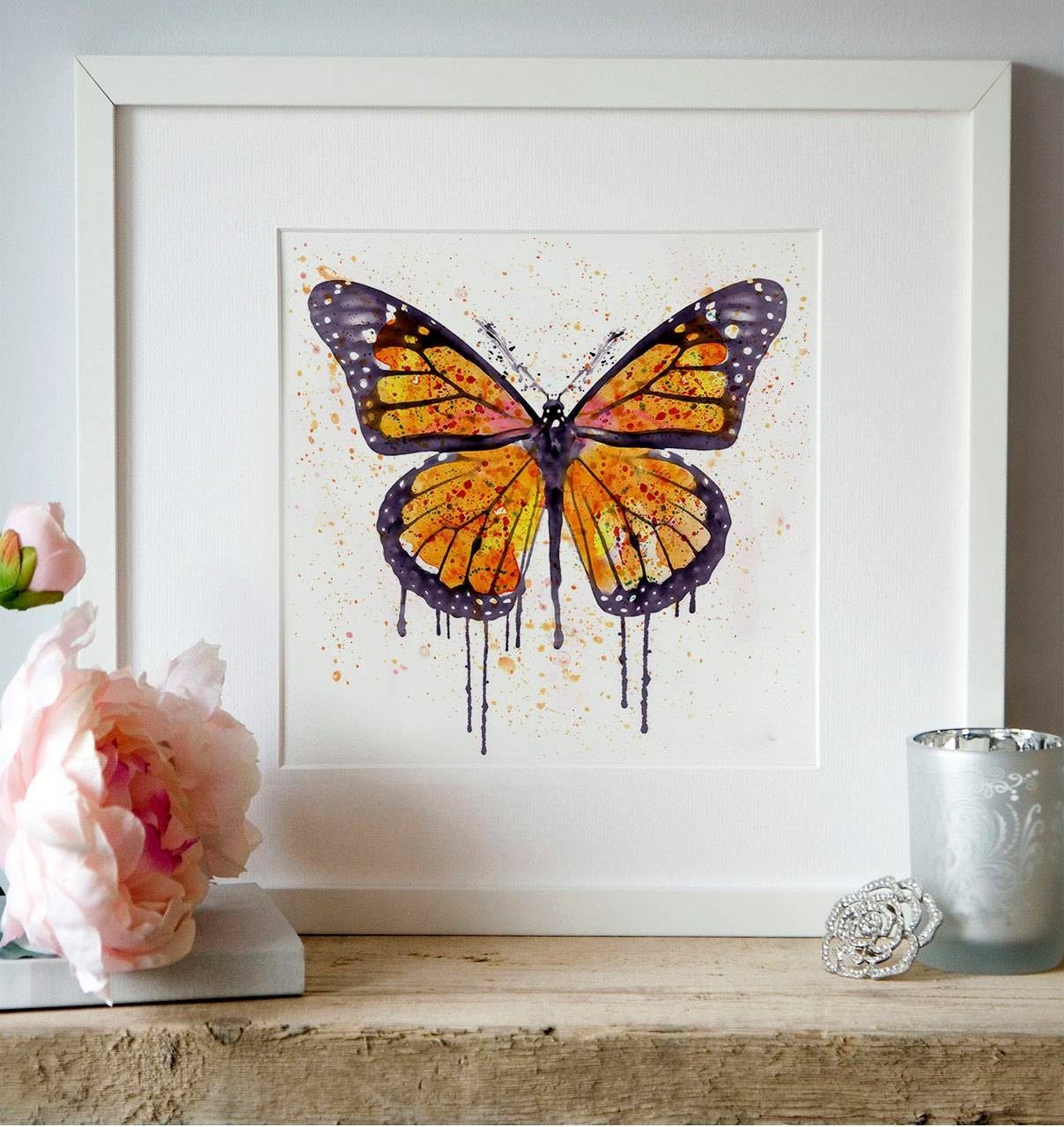 Monarch Butterfly Watercolor Painting Wall Art Square Art With Most Up To Date Insect Wall Art (Gallery 28 of 30)