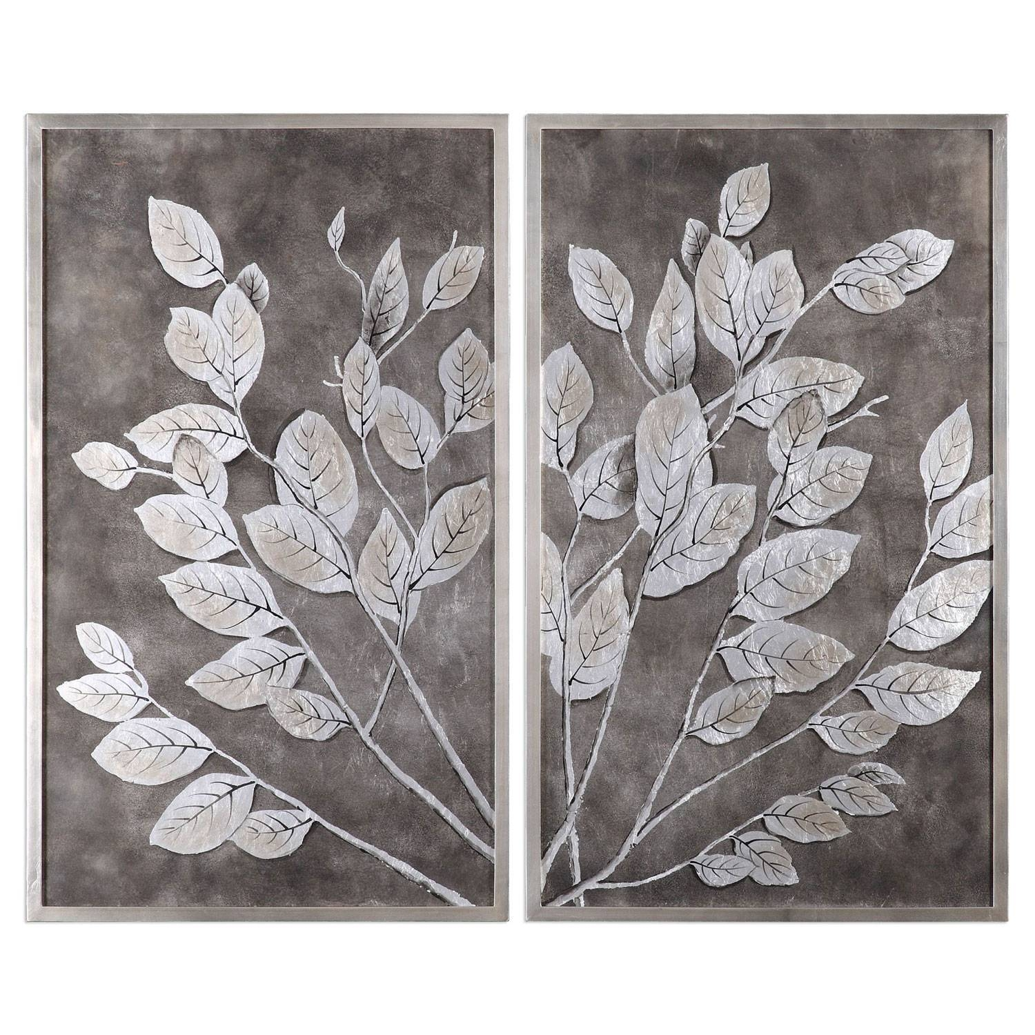 Money Tree Framed Art, Set Of 2 Uttermost Wall Art Wall Art Home Decor With Regard To Newest Black And White Wall Art Sets (View 12 of 20)