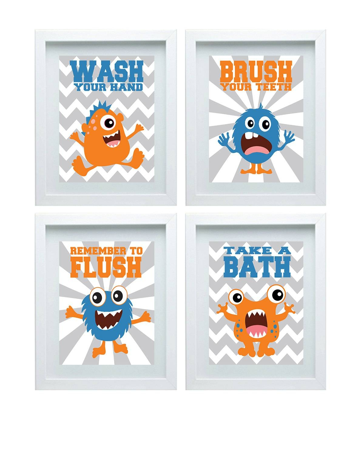 Monster Bathroom Decor Bathroom Rules Kids Bathroom Art Pertaining To Most Up To Date Kids Bathroom Wall Art (View 12 of 20)