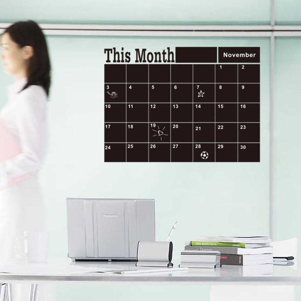 Month Planner Chalkboard Wall Stickers, Calendar Blackboard Throughout Most Popular Classroom Vinyl Wall Art (View 16 of 30)