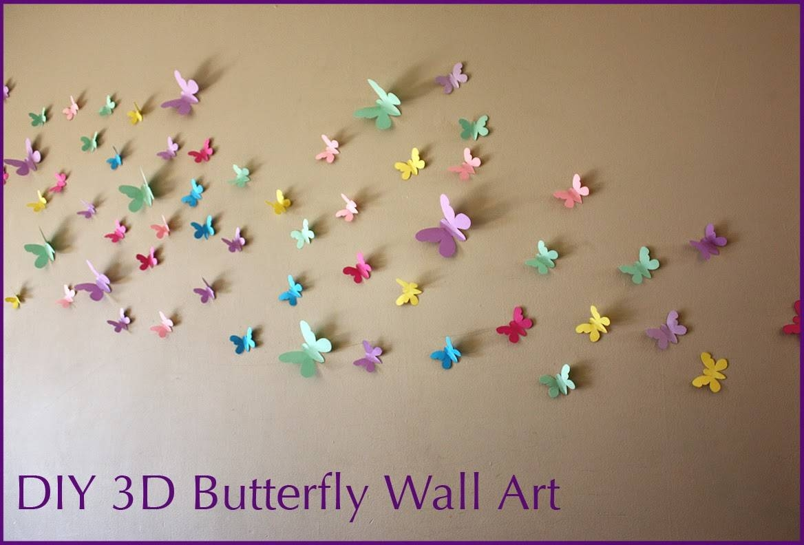 Moomama: Diy 3D Butterfly Wall Art With Free Templates With Regard To 2018 Diy 3D Butterfly Wall Art (View 17 of 20)