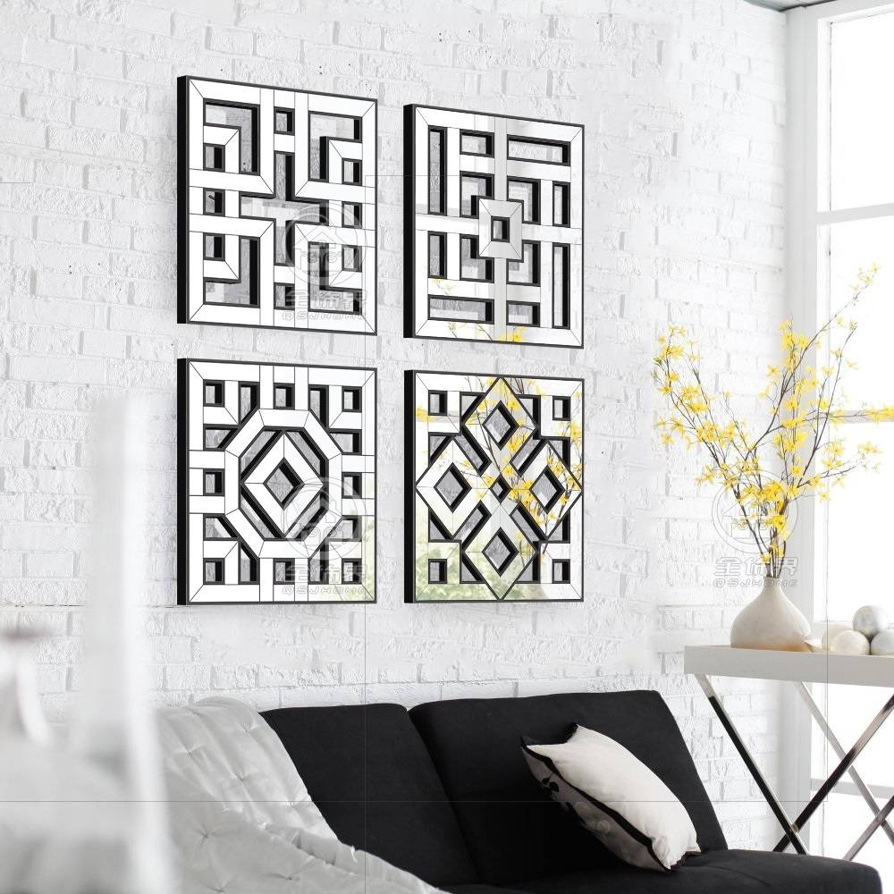 Morden Wall Mirror Square Mirror Mirrored Wall Decor Fretwork Throughout Current Fretwork Wall Art (View 8 of 25)