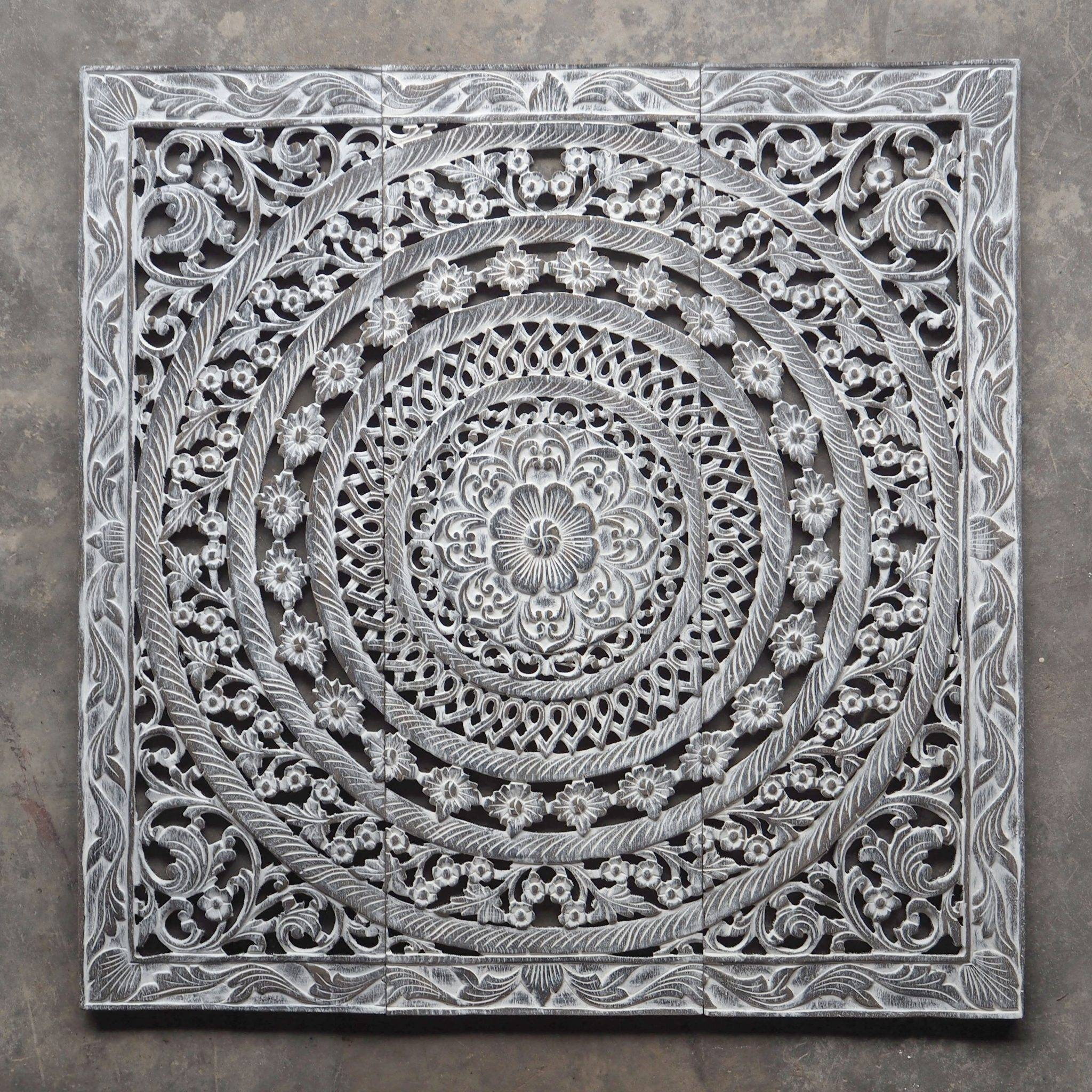 Moroccan Decent Wood Carving Wall Art Hanging – Siam Sawadee Within Recent White Wooden Wall Art (View 14 of 20)