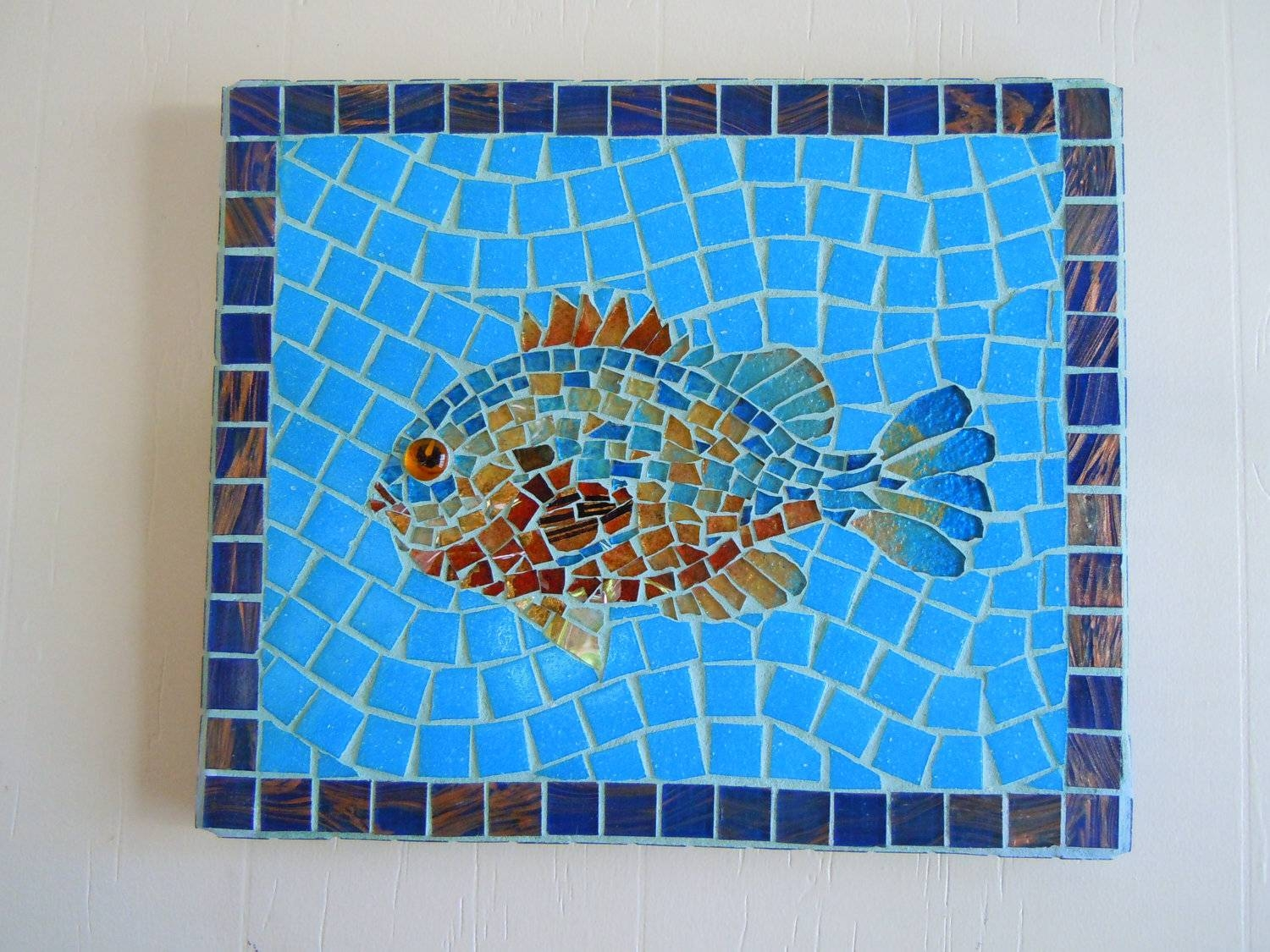 Mosaic Fish Home Decor Beach Cottage Decor Wall Art With Regard To Most Current Beach Cottage Wall Art (View 15 of 25)