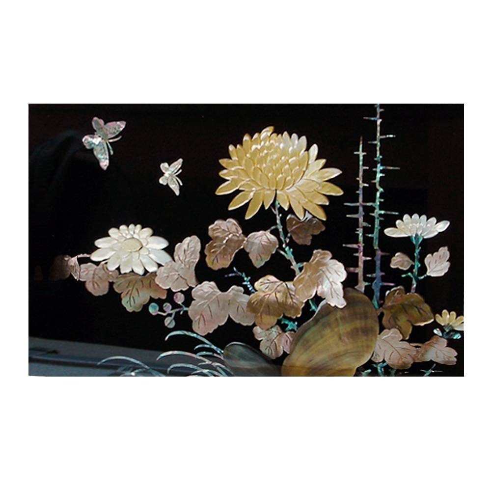 Mother Of Pearl Wall Art Decor Chrysanthemum Flower Carving In Pertaining To Latest Mother Of Pearl Wall Art (View 11 of 15)