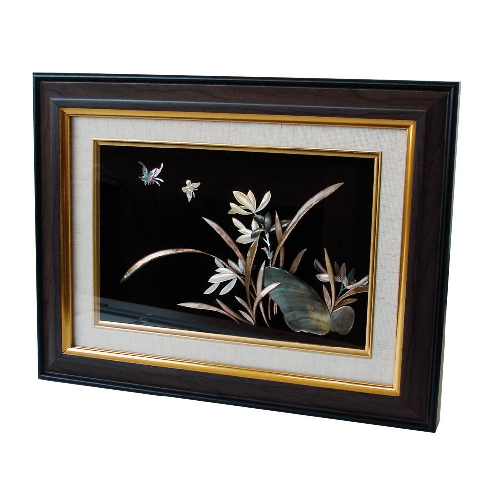 Mother Of Pearl Wall Art Decor Orchid Flower Carving In Frame Inside Most Up To Date Mother Of Pearl Wall Art (View 4 of 15)
