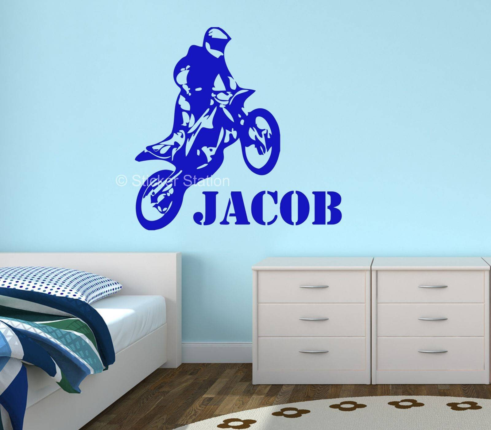 Motocross Motorbike Personalised Wall Art Sticker – Sticker Station Within Recent Graffiti Wall Art Stickers (View 15 of 30)