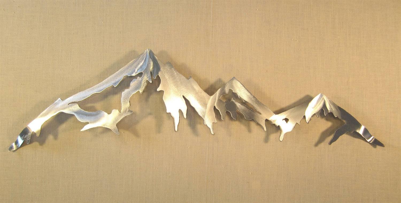 Mountain Range Cascade Mountains Metal Wall Art Home Decor Log Regarding Most Popular Mountain Scene Metal Wall Art (View 6 of 30)