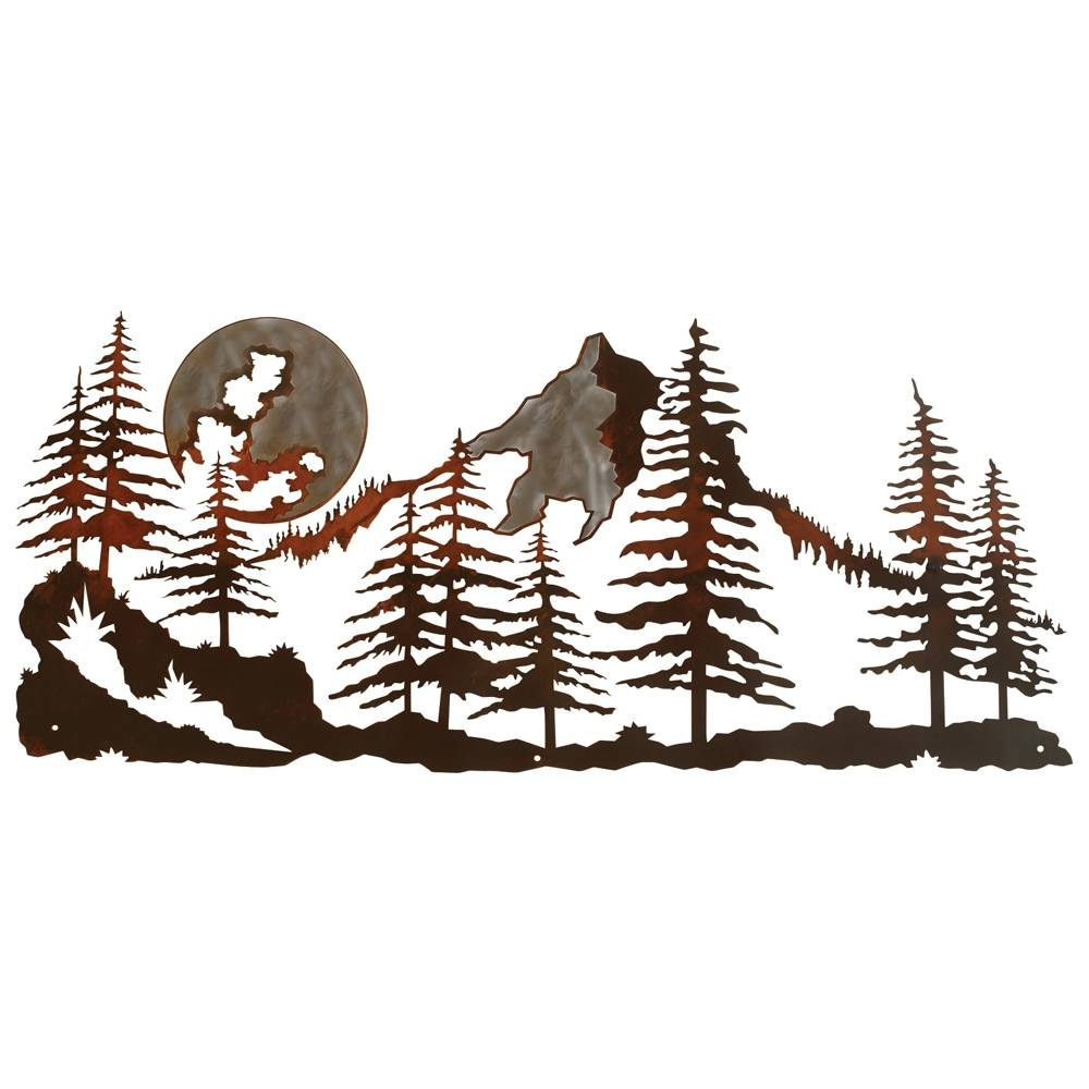 Mountain Scene Burnished Metal Wall Art With Regard To Latest Pine Tree Wall Art (View 9 of 30)