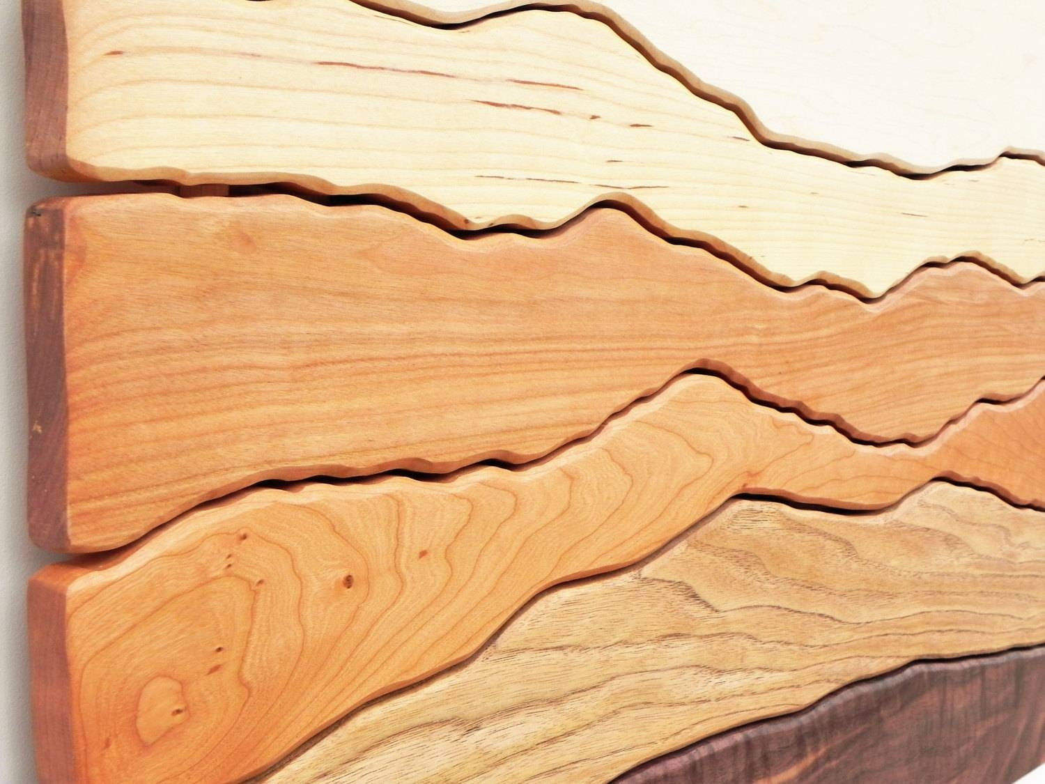 Mountain View Wood Wall Art /sugar Maple, Yellow Birch, Red Birch For Most Current Wood Wall Art (View 11 of 25)