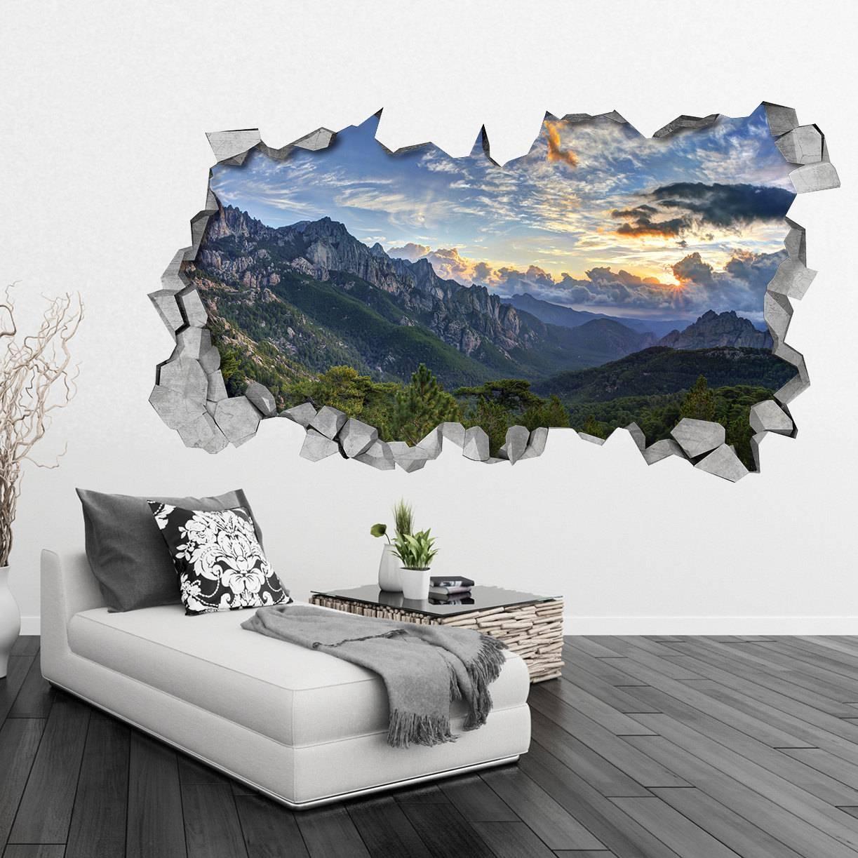 Mountains 3D Wallpaper Broken Wall Decal Wall Sticker Intended For Best And Newest Venezuela Wall Art 3D (View 15 of 20)