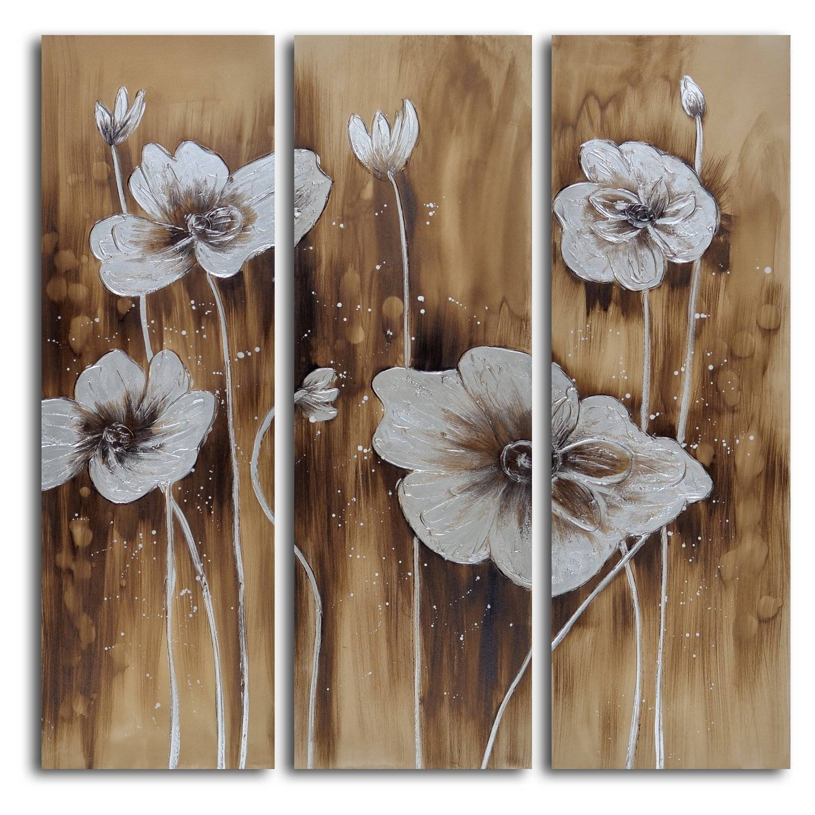Muddied Floral March 3 Piece Canvas Wall Art Set | Hayneedle Inside Recent 3 Piece Floral Canvas Wall Art (Gallery 9 of 20)