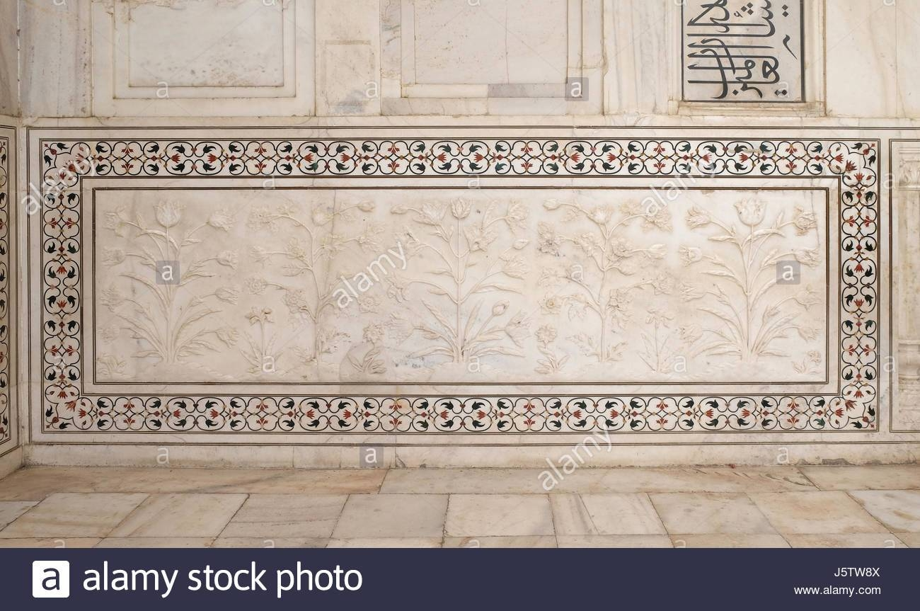 Mughal Stone Art On The Facade Of The Taj Mahal (Crown Of Palaces Intended For Current Taj Mahal Wall Art (View 17 of 25)