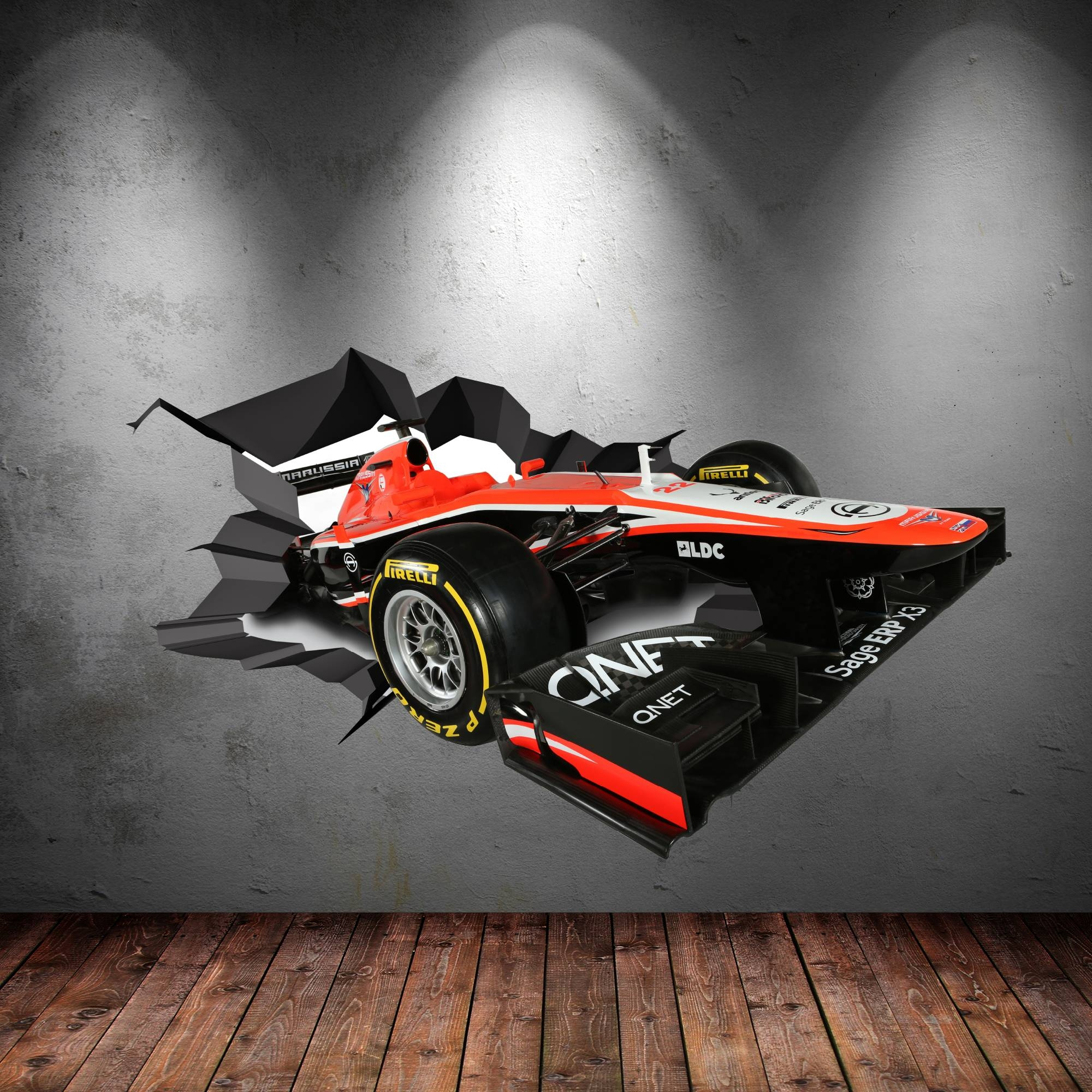 Multi Full Colour 3D F1 Racing Car Race Cracked Wall Art Sticker Within Most Recently Released Cars 3D Wall Art (View 15 of 20)