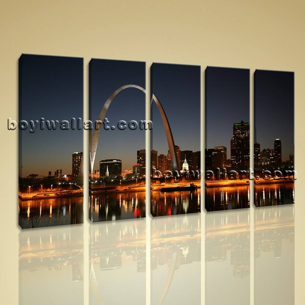 Multiple Panels Cityscape Saint Louis Arch Night Scene Framed Wall Inside Recent Cityscape Canvas Wall Art (Gallery 15 of 20)