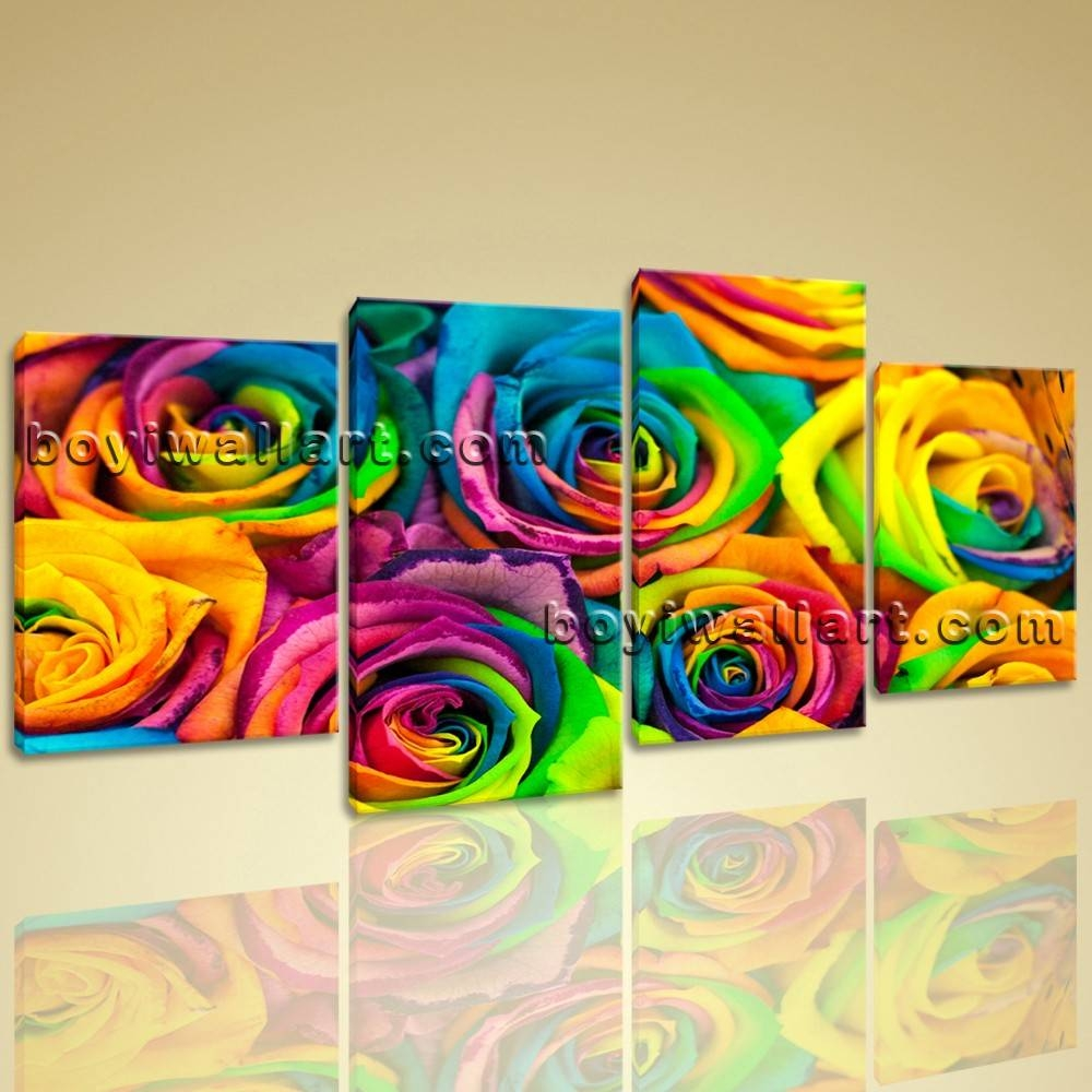 Multiple Pieces Contemporary Canvas Print Wall Art Abstract Rose With Regard To Recent Wall Art Multiple Pieces (View 8 of 20)