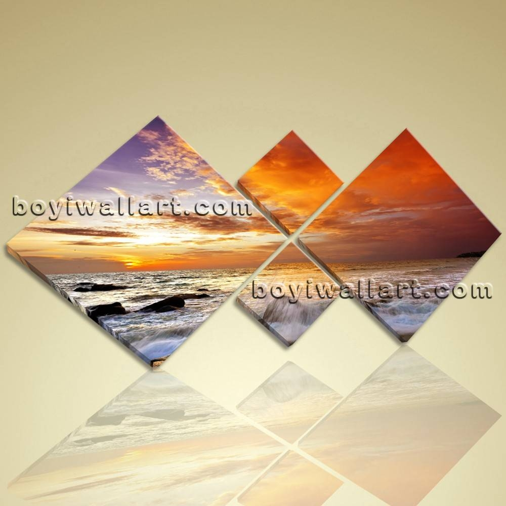 Multiple Pieces Contemporary Landscape Sunset Glow Wall Art Prints Inside Most Up To Date Wall Art Multiple Pieces (View 11 of 20)