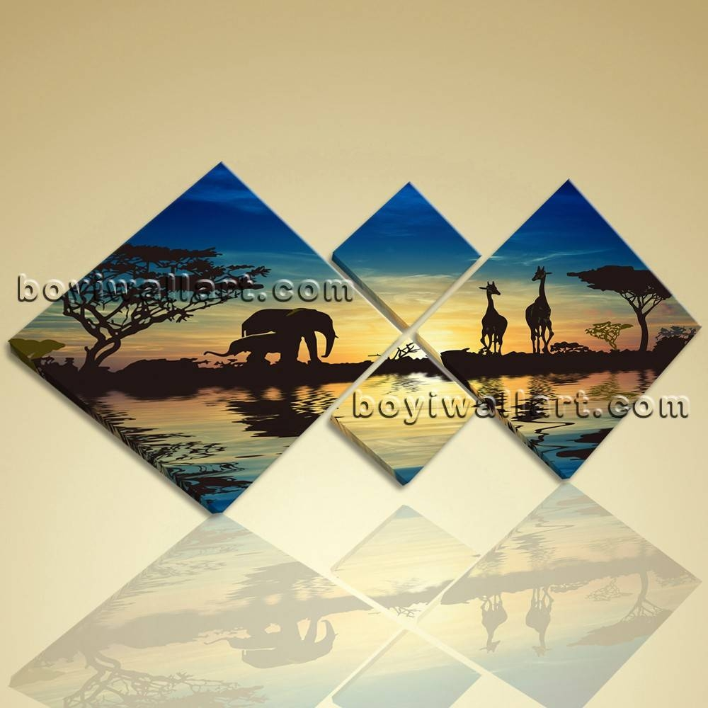 Multiple Pieces Wall Art Print On Canvas Blue Landscape Africa Sunset For Newest Wall Art Multiple Pieces (View 11 of 20)