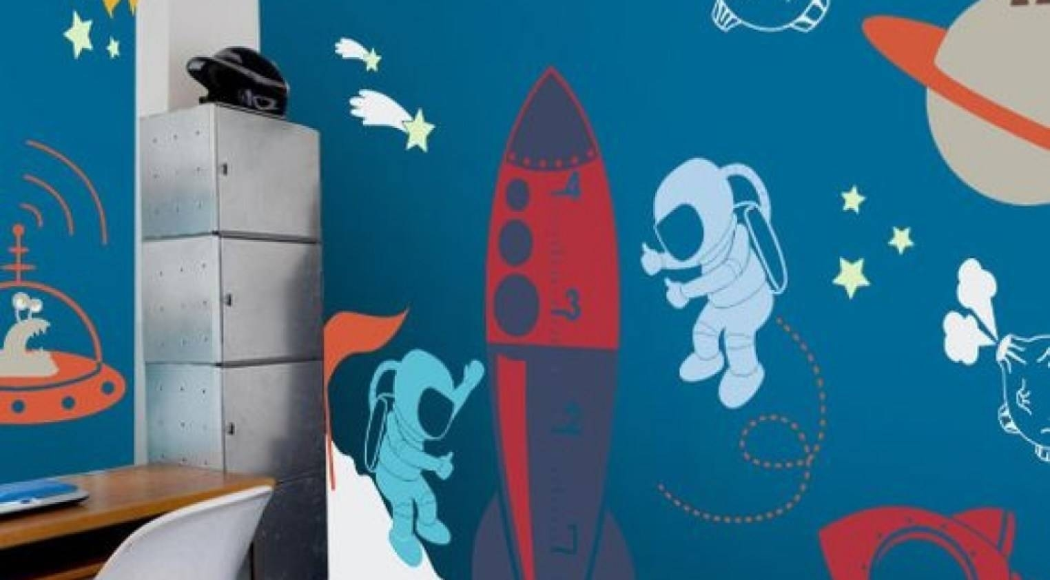 Mural : Amazing Outer Space Wall Mural Solar System With Space With Most Up To Date Astronaut 3D Wall Art (View 13 of 20)