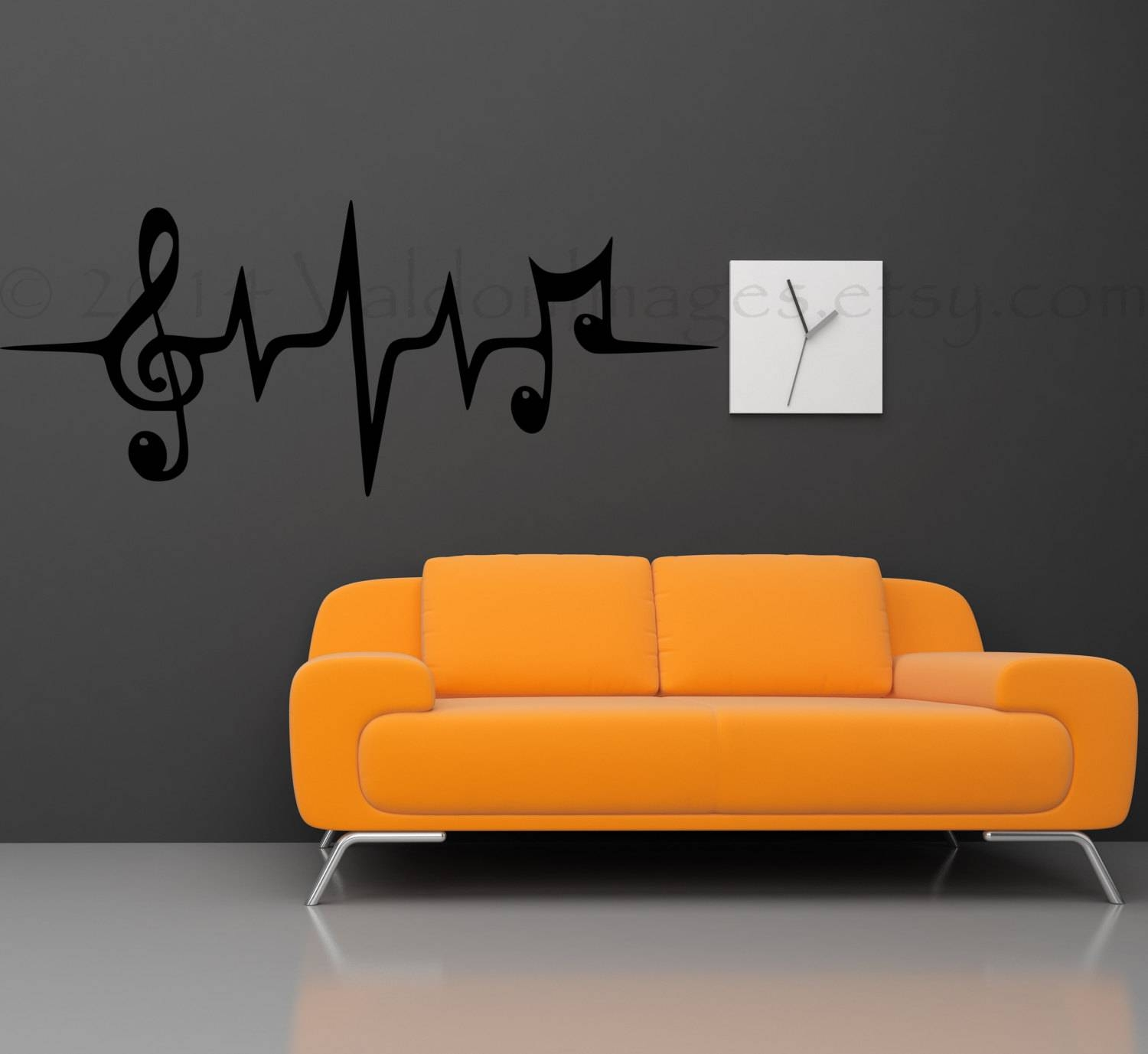 Music Note Wall Decal Music Wall Decal Heartbeat Wall Inside 2017 Music Note Art For Walls (View 2 of 25)