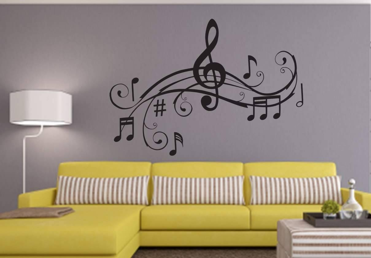 Music Notes Design Wall Art Decal | Wall Decal | Wall Art Decal Pertaining To 2018 Music Note Art For Walls (View 21 of 25)