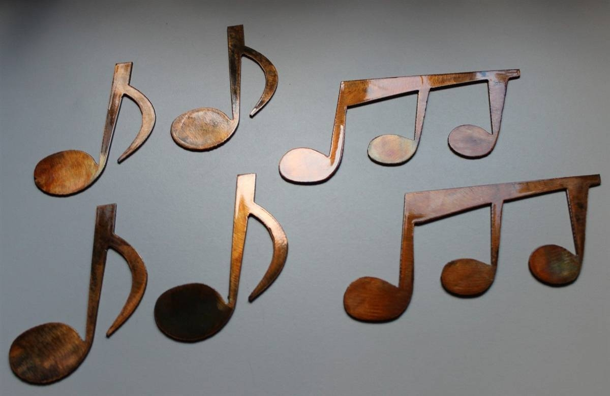 Music Notes Set Of 6 Metal Wall Art Copper/bronze Plated With Current Music Metal Wall Art (View 11 of 20)