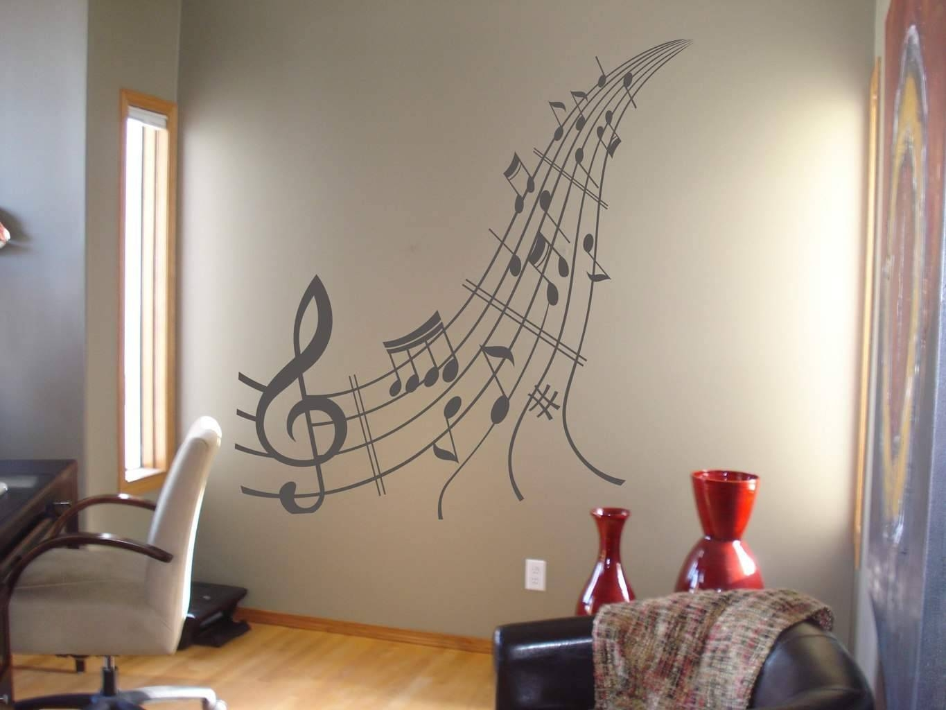 Music Notes Wall Art Decal | Music Wall Decal Sticker Pertaining To Best And Newest Music Note Wall Art (View 10 of 20)