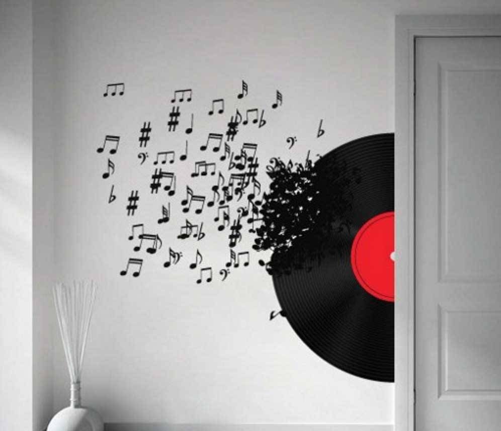 Music Notes Wall Art Decals Vinyl Record Ideas | Home Interior Intended For 2018 Music Note Art For Walls (View 15 of 25)