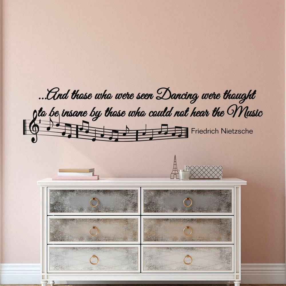 Music Notes Wall Decals Quotes Vinyl Lettering And Those Who With Regard To Most Current Music Note Wall Art (View 12 of 20)
