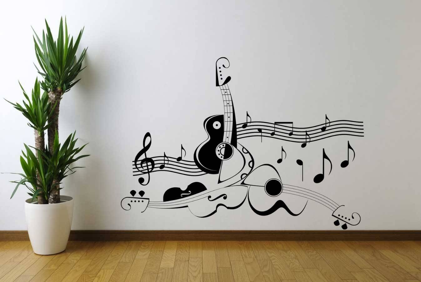 Music Themed Wall Art Guitar Music Note Symbol | Home Interior Intended For Current Music Theme Wall Art (View 16 of 30)