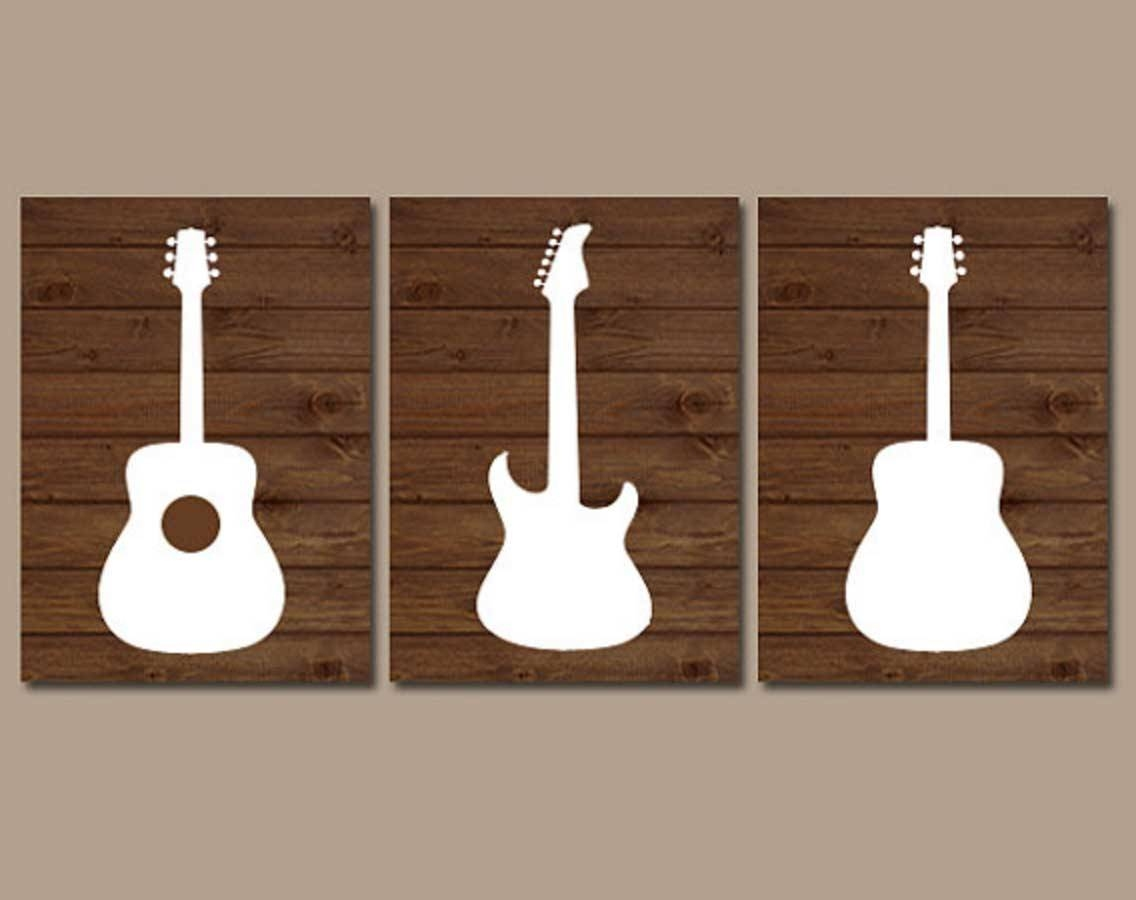 Music Themed Wall Art With Wood Guitar Ideas | Home Interior For Latest Music Theme Wall Art (View 18 of 30)
