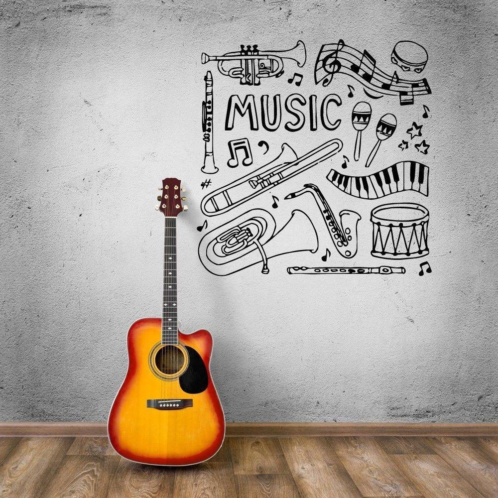 Musical Instrument Wall – Todosobreelamor With Latest Musical Instrument Wall Art (View 14 of 25)