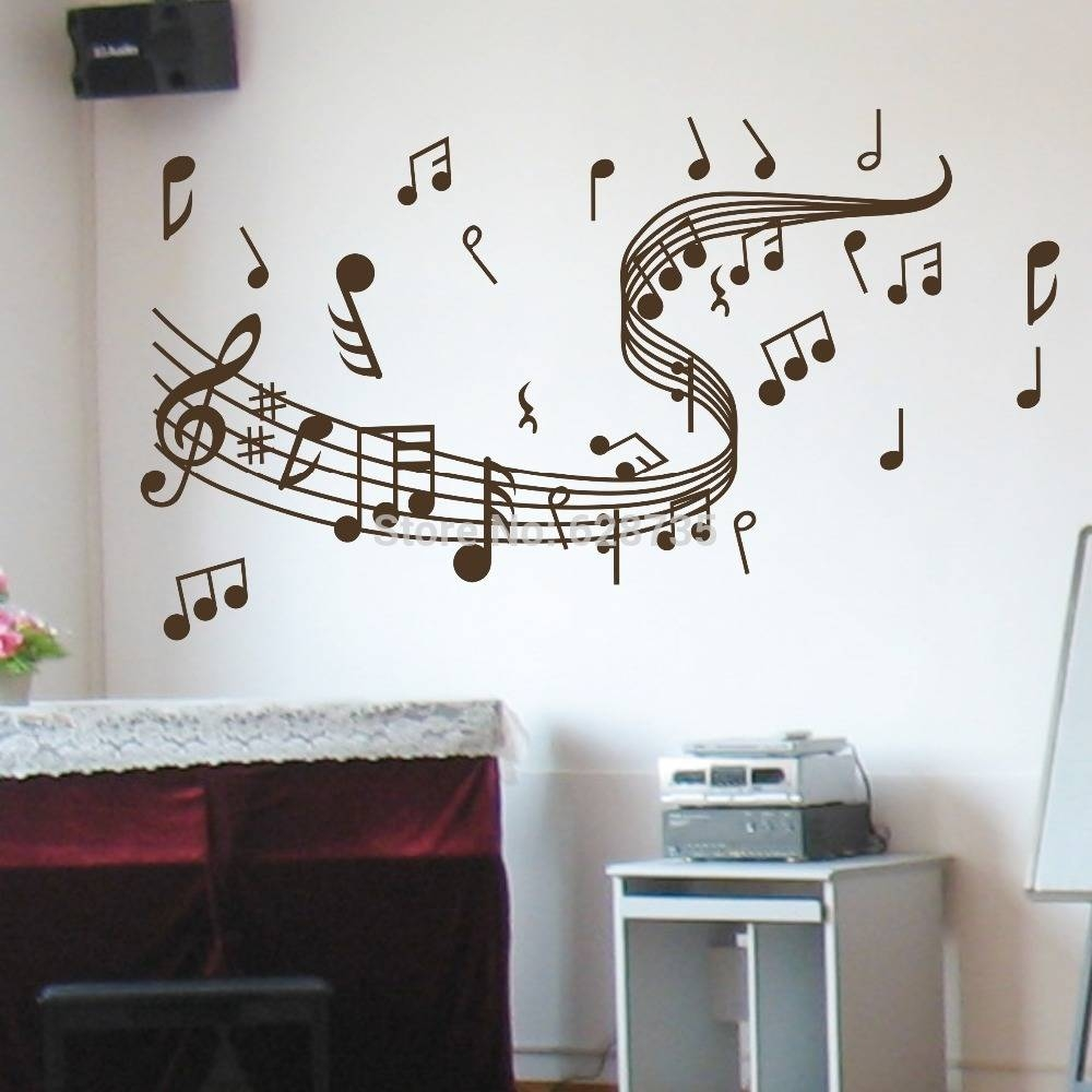 Musical Note Wall Decals Creative Vinyl Wall Art Sticker Decor Pertaining To Most Popular Music Note Wall Art (View 13 of 20)