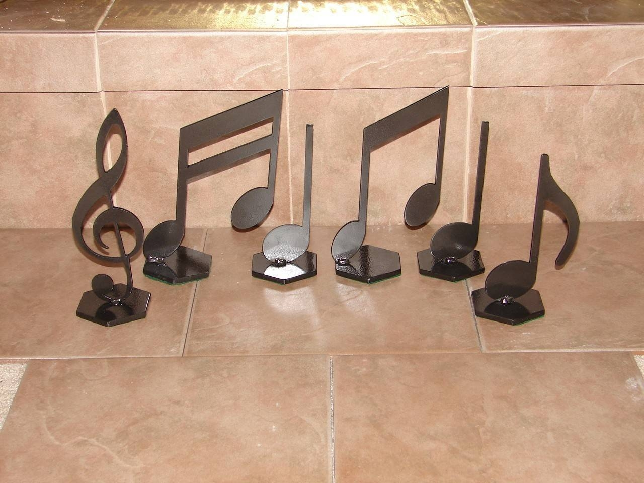 Musical Notes Home Decor Metal Art Music Note Set For Most Popular Metal Music Notes Wall Art (View 12 of 20)