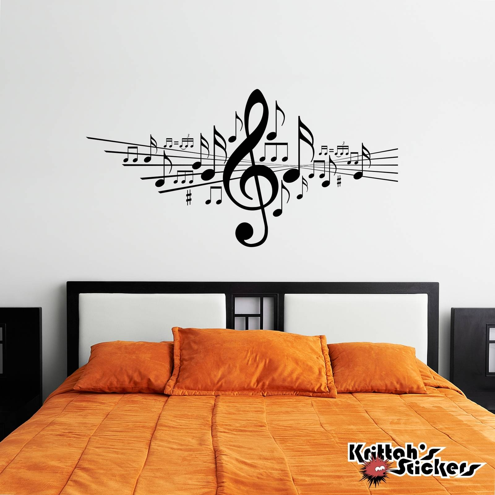 Musical Notes Vinyl Wall Decal Regarding 2017 Music Note Wall Art Decor (View 13 of 20)