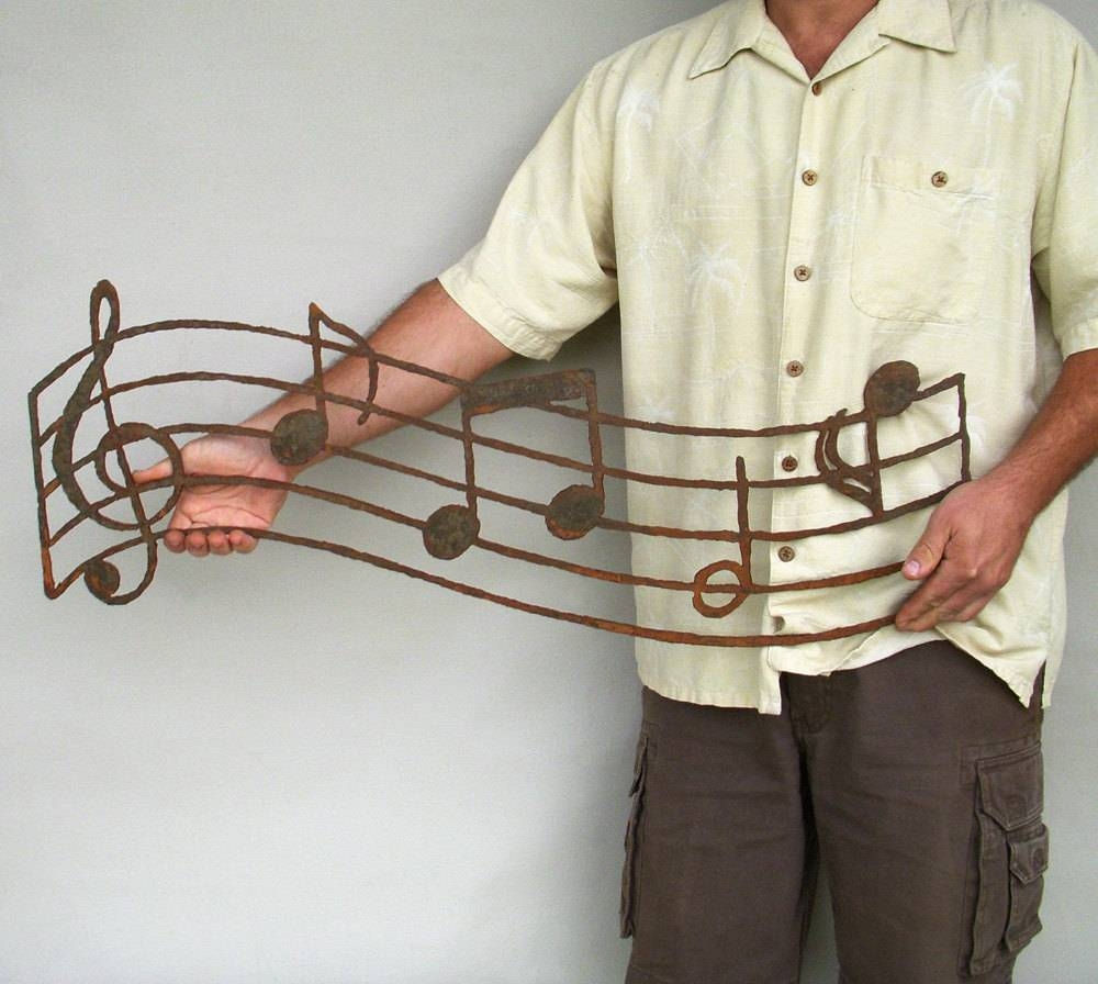Musical Notes Wall Art Custom Order Steel Earth Tone Patina Throughout Most Up To Date Metal Music Notes Wall Art (View 3 of 20)