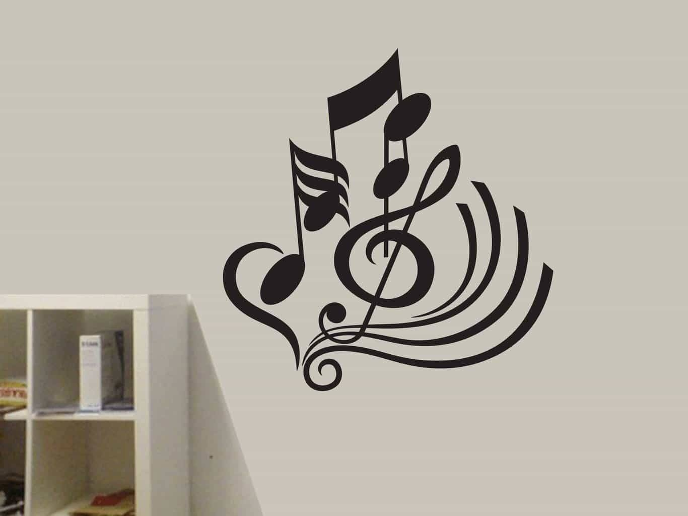 Musical Notes Wall Art Decal Sticker With Latest Music Note Wall Art (View 9 of 20)
