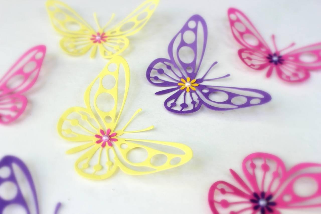 Mydreamdecors • Purple, Yellow, Pink, Butterflies, 3D Wall Art, For 2018 Pink Butterfly Wall Art (View 12 of 20)