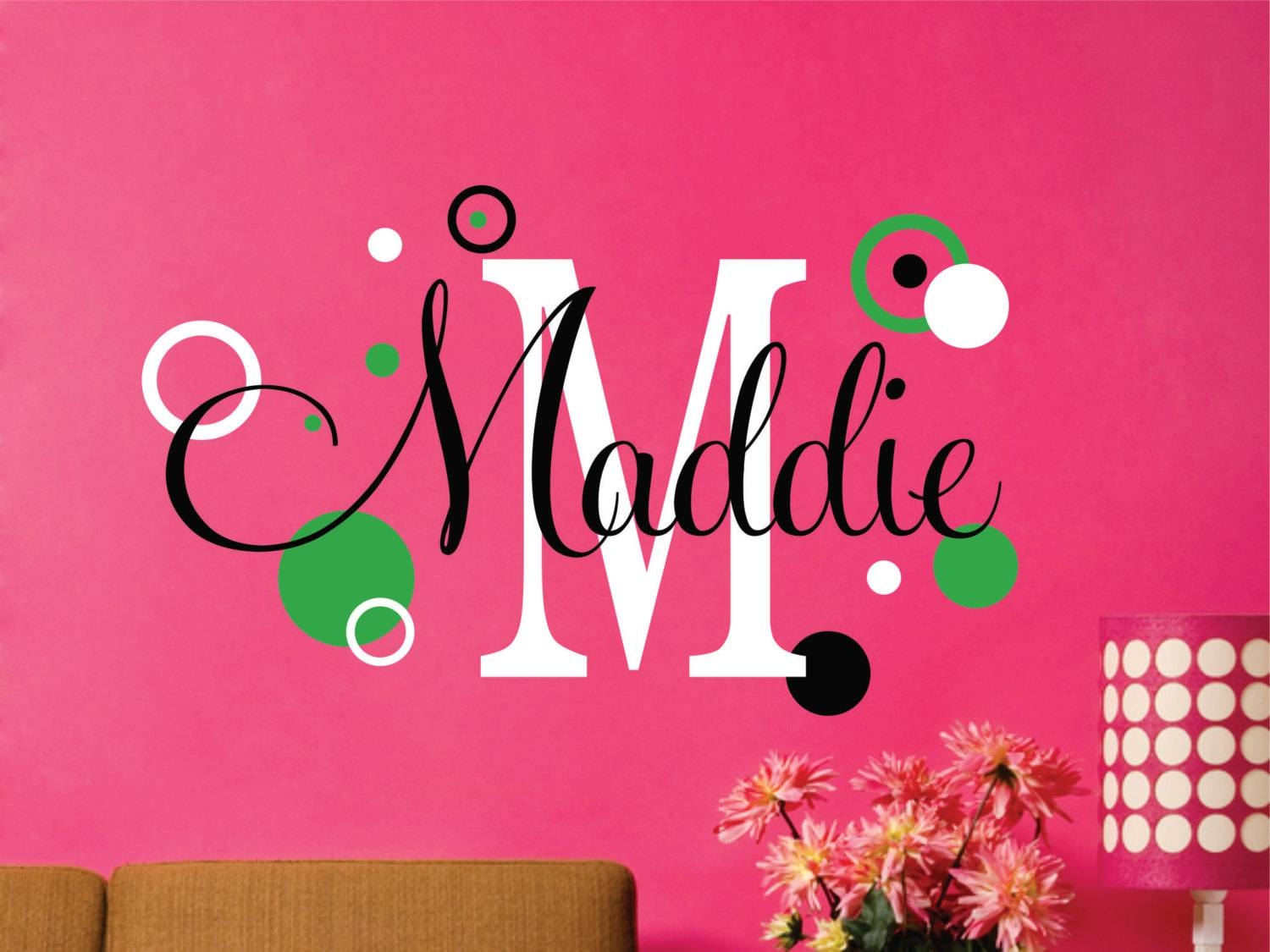 Name Decal // Personalized Decal // Name Wall Decal // Name In Current Etsy Childrens Wall Art (View 14 of 20)