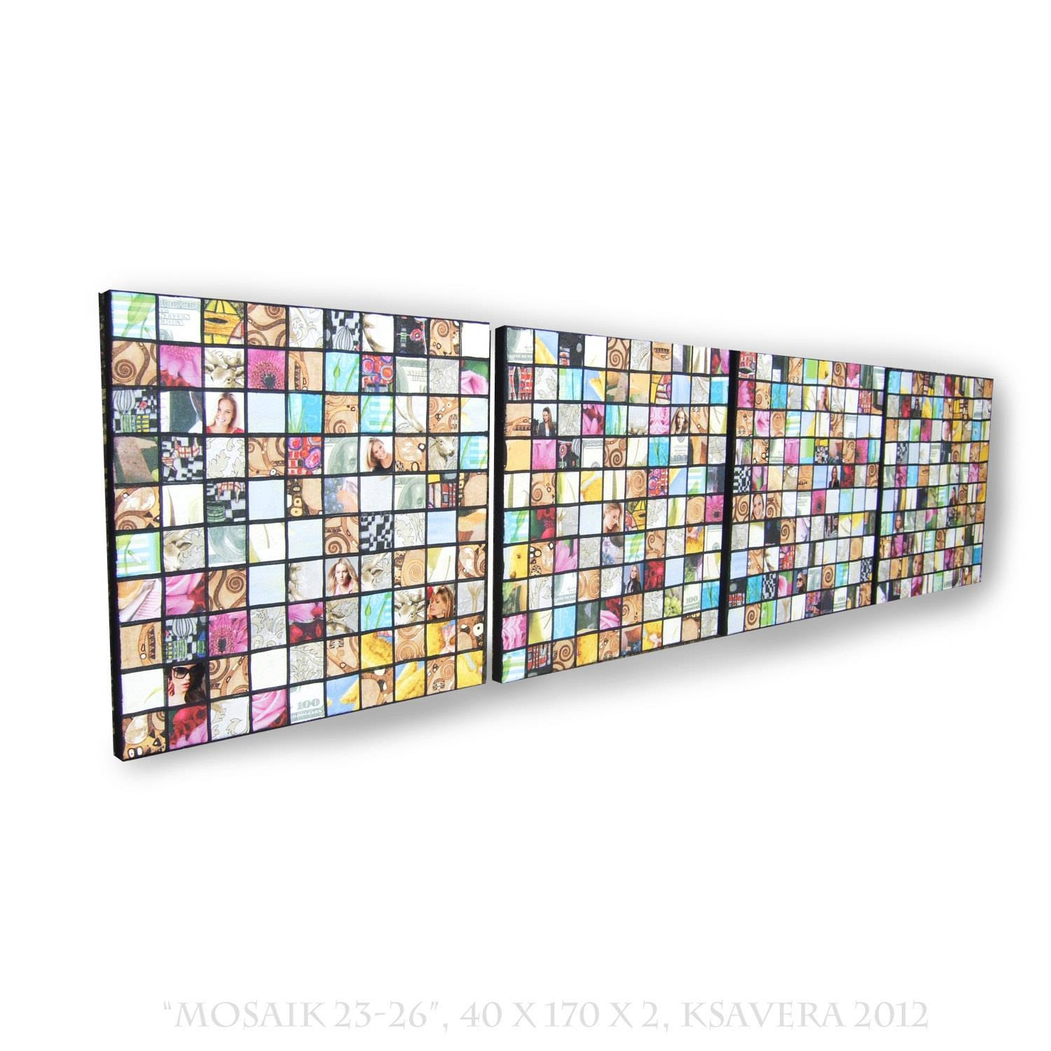 Napkins Decoupage Mosaic On Canvas Long Vertical Abstract Art Pertaining To Latest Long Vertical Wall Art (View 11 of 20)