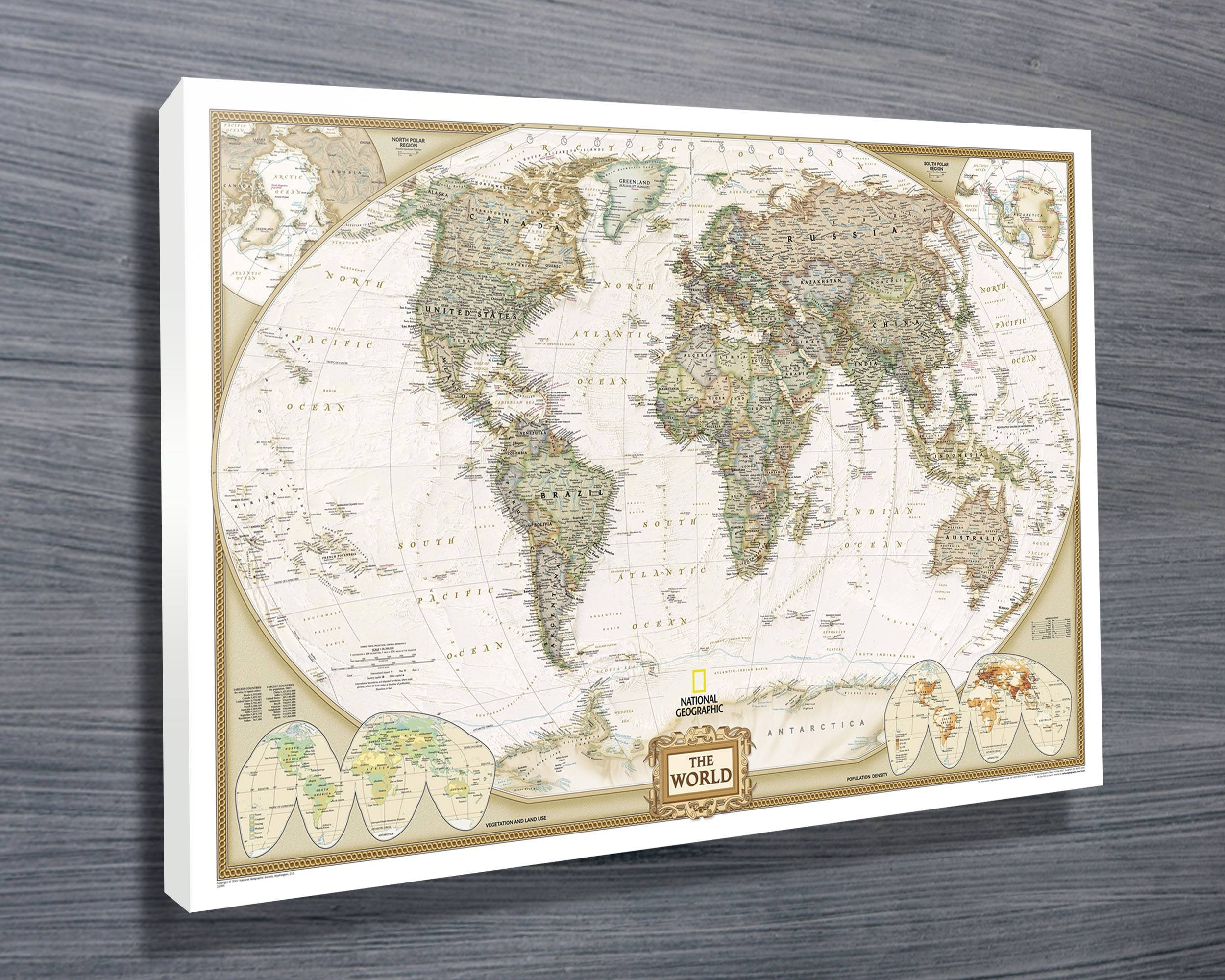 Explore gallery of framed world map wall art showing 7 of 20 photos national geographic map canvas prints australia regarding 2017 framed world map wall art gallery gumiabroncs Images
