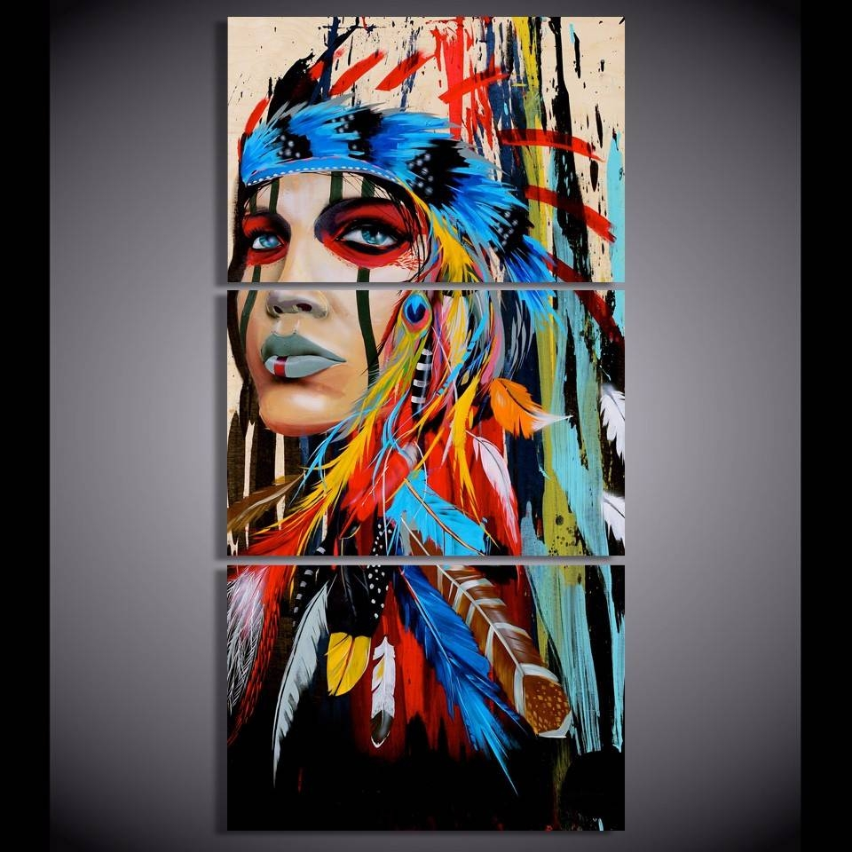 Native American Girl Feathered Women Modern Home Wall Decor Canvas Within Recent Native American Wall Art (View 2 of 25)