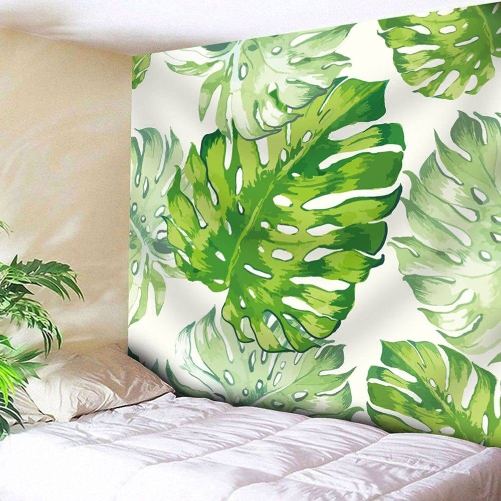 Natural Palm Leaves Wall Art Tapestry, White/green, W Inch L Inch with Recent Palm Leaf Wall Art