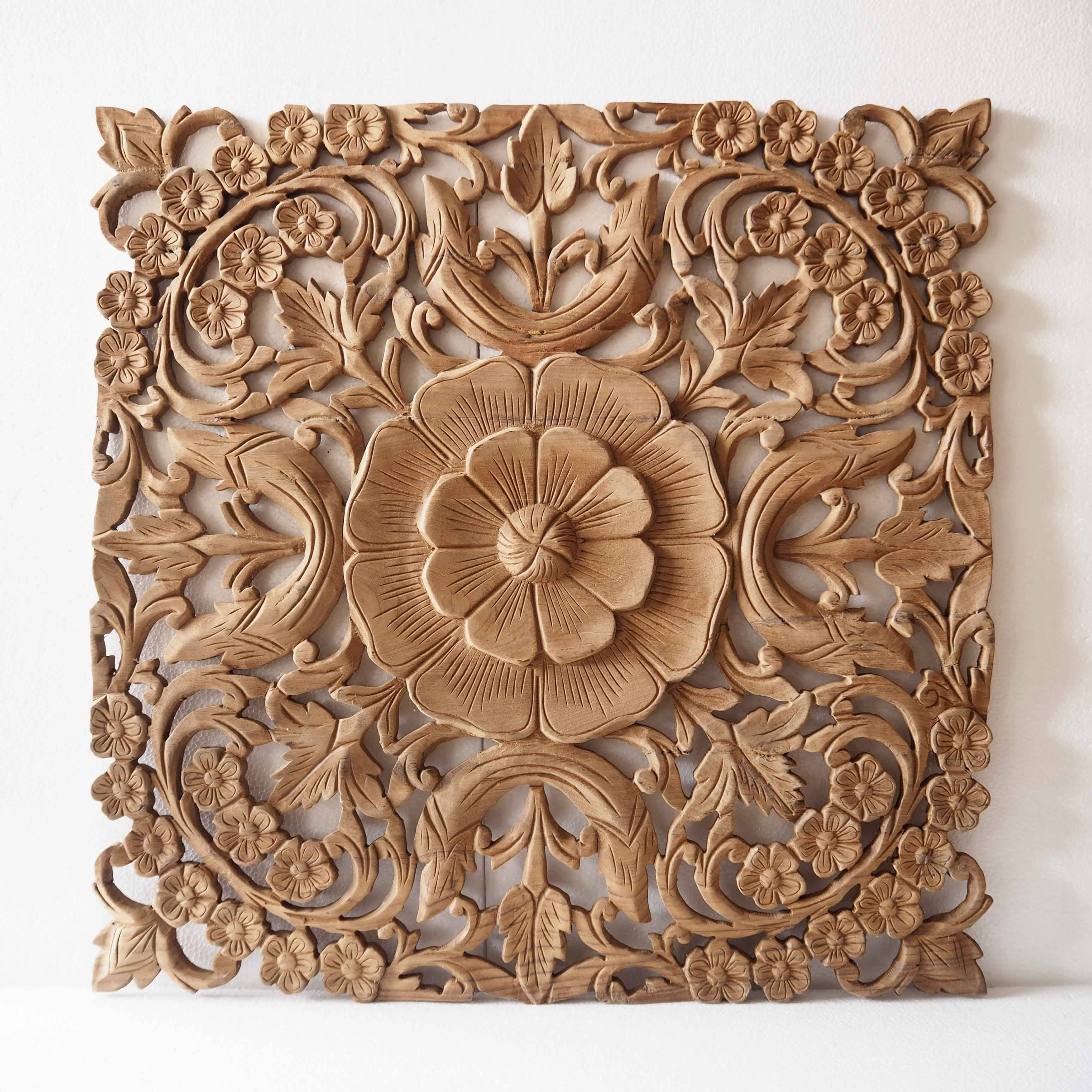 Natural Wooden Wall Art Panel From Thailand - Siam Sawadee with Best and Newest Natural Wood Wall Art